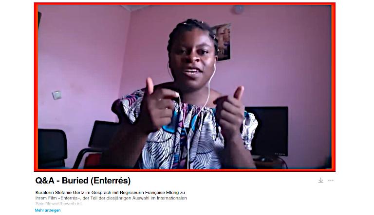 Screenshot eines Zoom-Gesprächs mit Regisseurin Francoise Ellong